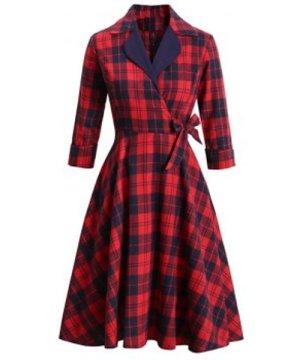 Plaid Lapel Rolled Sleeve Surplice Bowknot Dress