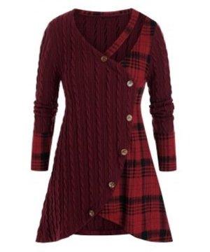 Plus Size Plaid Cable Knit Cutout Tunic Sweater