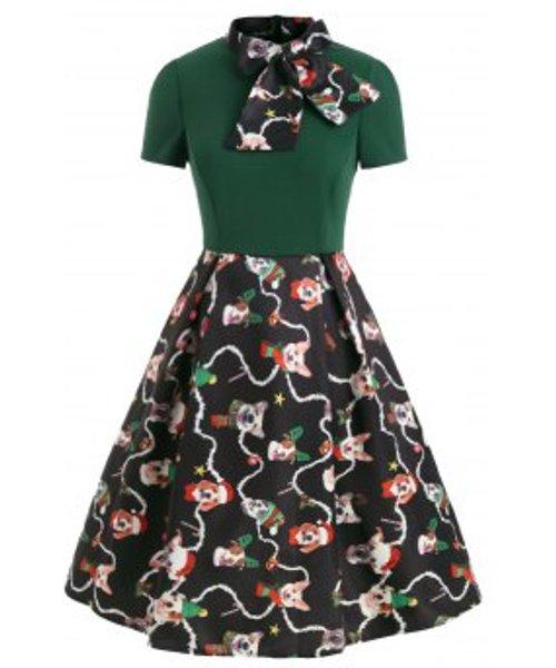 Christmas Funny Dog Print Bow Tie Vintage Dress