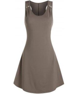 Plain Ruched Sleeveless Mini A Line Dress