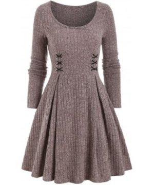 Crisscross Ribbed Mini High Waist Dress