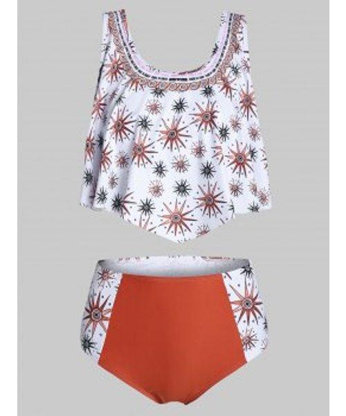 Star Print Point Hem High Waisted Tankini Swimwear