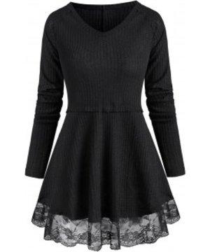 Lace See Thru Hem Raglan Sleeve Tunic Knitwear