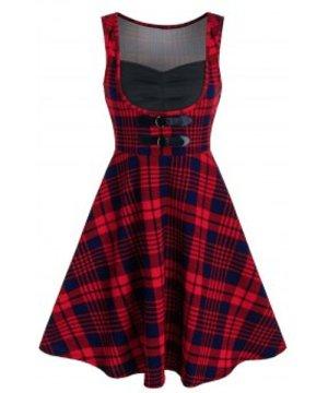 Tartan Print Square Collar Sleeveless A Line Dress