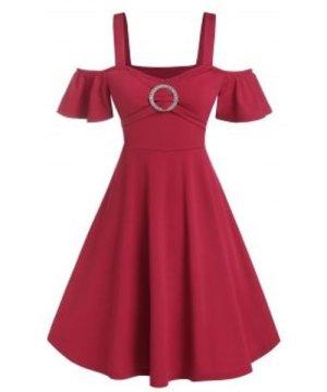 Rhinestone O-ring Cold Shoulder Flare Dress