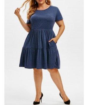 Seam Pockets Casual A Line Plus Size Dress