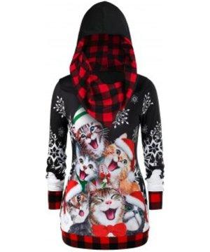 Plus Size Plaid Cat Print Christmas Hoodie
