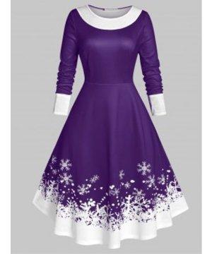 Plus Size Christmas Snowflake Velvet Insert Long Sleeve Dress
