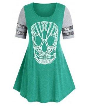 Plus Size Lace Skull Sequin T Shirt