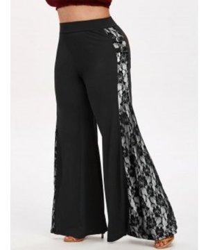 Plus Size Lace Insert Buckle Flare Pants