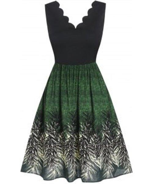Sleeveless Scalloped Leaf Print Flare Dress
