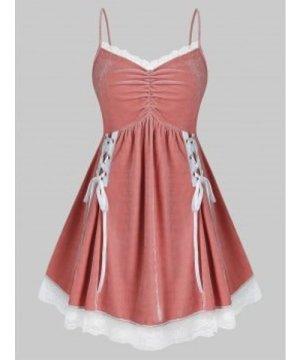 Plus Size Velvet Lace-up Cami Lingerie Dress