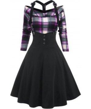 Plaid Y Line Back Suspender Skirt Set