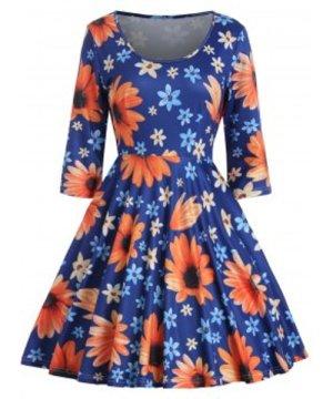 Floral Print High Waist Flared Dress