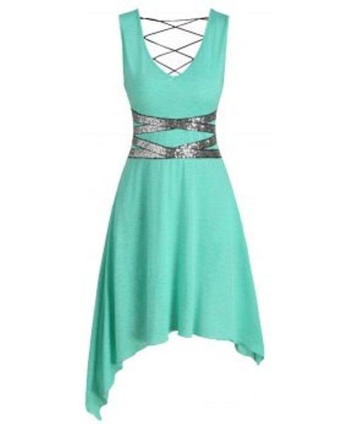 Sleeveless Sequin Panel Lace-up Asymmetric Dress