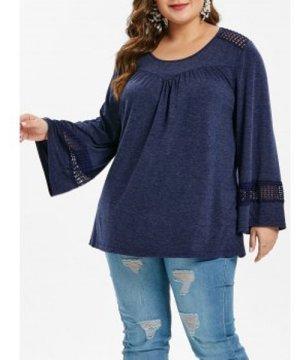 Plus Size Long Sleeve Lace Crochet T-shirt