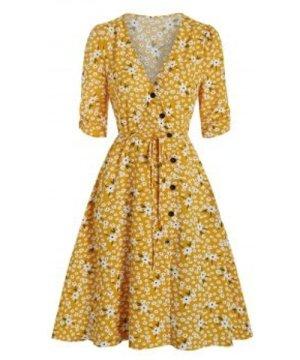 Floral Print Mock Button Wrap Dress