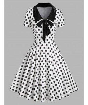 Polka Dot Velvet Insert Bowknot Vintage Dress