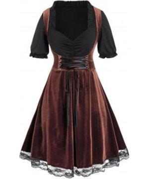 Plus Size Velvet Bicolor Twofer Lace-up Dirndl Dress