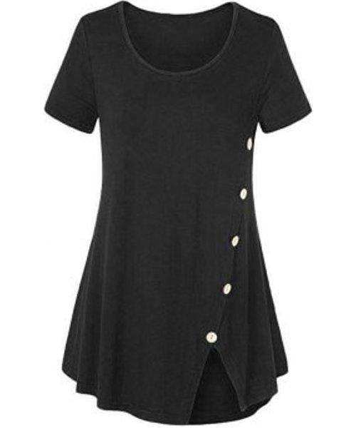 Plus Size Mock Buttons Front Slit T Shirt
