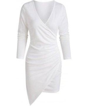 Long Sleeve Asymmetric Surplice Sheath Dress