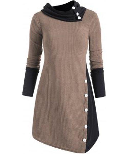 Two Tone Ribbed Turndown Collar Tunic Knitwear