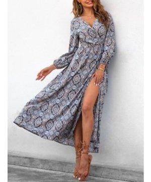 Flower Print Maxi Wrap Dress
