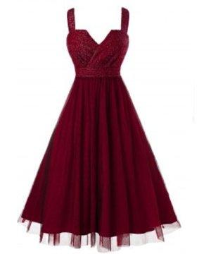 Plus Size Sleeveless Metallic Thread Mesh Prom Dress
