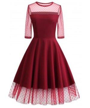 Polka Dot Mesh Insert Prom Dress