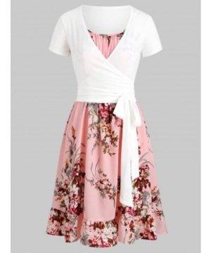 Floral Cami Flounce Dress with Wrap T-shirt