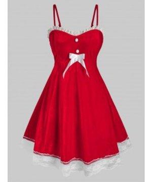 Plus Size Velvet Lace Hem Christmas Dress with G-string Set