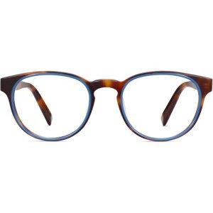 Percey eyeglasses in Oak Barrel with Cerulean (Non-Rx)