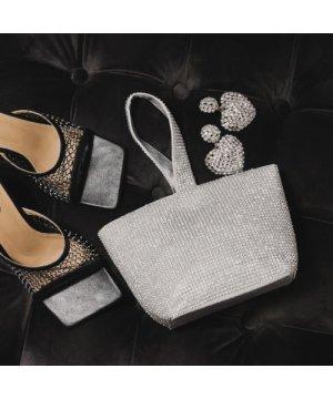 Wrist Bag In Silver Diamante
