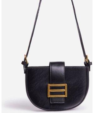 Klara Buckle Detail Curved Shoulder Bag In Black Faux Leather