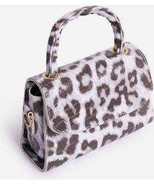 Sasha Cross Body Grab Bag In White Leopard Print Faux Leather