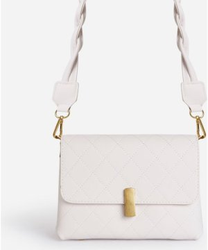 Mathilde Woven Strap Boxy Bag In White Faux Leather