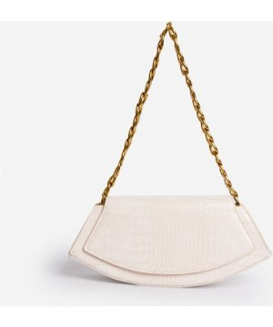 Malika Chain Strap Shaped Cross Body Bag In White Croc Print Faux Leather