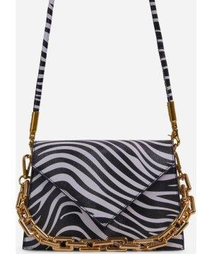 Amalfi Chain Detail Boxy Cross Body Bag In Zebra Print Faux Leather