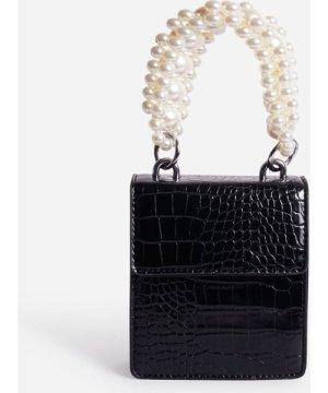 Duchess Pearl Handle Mini Grab Bag In Black Croc Print Faux Leather