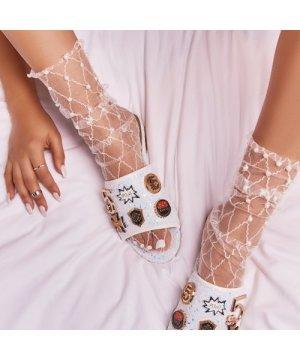 Pearl Detail Socks in White Fishnet Mesh