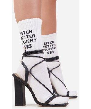 Better Have My $$$ Slogan Sport Socks in White