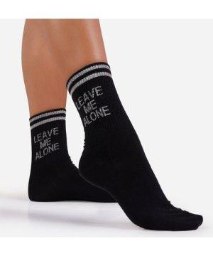 Leave Me Alone Slogan Sports Sock In Black