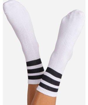 Black Triple Striped Sport Sock In White