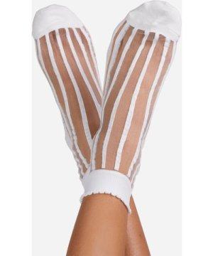 Stripe Detail Ankle Socks In White Mesh