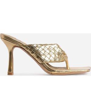 Brave Braided Detail Square Kitten Toe Heel Mule In Metallic Gold Faux Leather