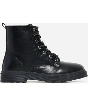 Poppin Girl's Lace Up Ankle Biker Boot In Black Faux Leather