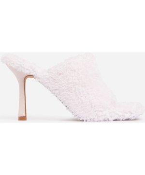 Cozy Square Peep Toe Heel Mule In Pink Faux Shearling.5