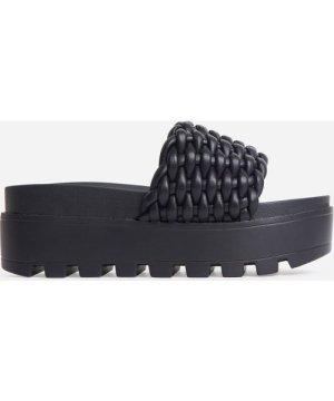 Bondi Woven Chunky Sole Platform Flat Slider Sandal In Black Faux Leather