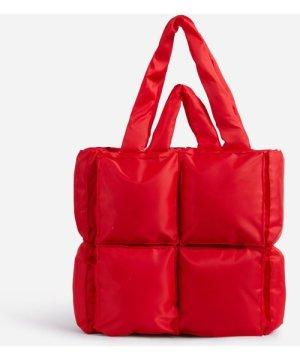 Manic Oversized Puffa Tote Bag In Red Nylon