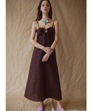 HIVA TIE-BACK LINEN DRESS. Chocolate. - Last one (1) by Belize